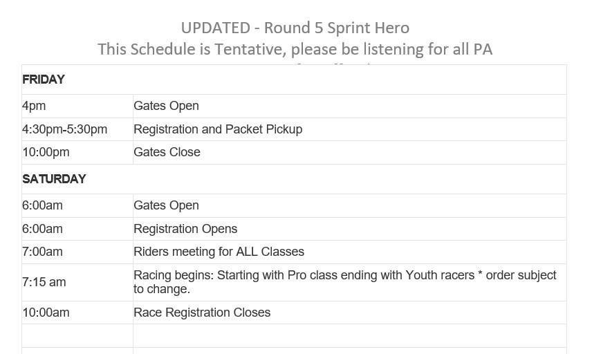 2019 Round 5 Glen Helen Weekend Schedule